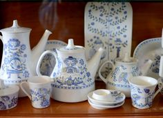 Vintage Figgjo Lotte collection cups, mugs, teapot, etc