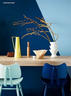 déco en bleu ! Geometric angles in Inside Out (Styling Vanessa Colyer Tay, Photography by Lisa Cohen.) #blue