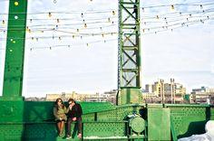 Couples photo on green bridge.  www.allypapko.com