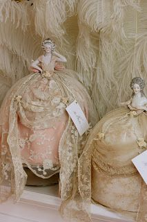 Rosemary Cathcart Antique Lace and Vintage Fashion: Porcelain & Lace Pincushion Ladies
