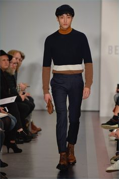 Channeling mod style, Ben Sherman produces color blocked knitwear for fall-winter 2017.