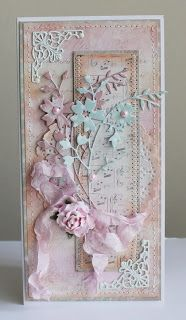 handmade card: Flower Paradise: Wedding Shabby ... tall and thin formaat ... delicate shades of pink and aqua ... crumpled seam binding bow ... delicate sprays of die cut wildflowers ... beautifu!!