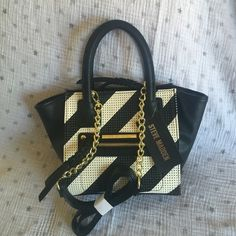 Steve Madden Mini Satchel Black & white perforated striped small satchel with gold hardware, braided zip pulls, and available Crossbody strap. Steve Madden Bags Satchels
