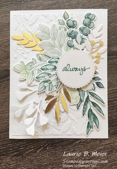 The Forever Greenery Suite makes it so easy to create a gorgeous, multi-layered foliage card! Distress Ink Techniques, Feather Cards, Card Making Templates, Poppy Cards, Anna Griffin Cards, Die Cut Cards, Stamping Up Cards, Marker Art, Cards For Friends