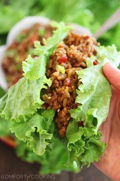 Slow Cooker Asian Chicken Lettuce Wraps – Simmer these delicious, low-carb Asian chicken lettuce wraps in your slow cooker for a fresh & healthy home-cooked meal! | thecomfortofcooking.com