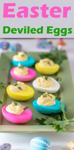 Amazing Easter Deviled Eggs by Binky's Culinary Carnival is a fun Easter appetizer for kids that even adults can enjoy! Colorful and tasty, this easy dish is the perfect addition to any Easter gathering. Make this simple recipe as a side dish or an appetizer this Easter! #easterrecipes #appetizerrecipes Make Ahead Appetizers, Easter Appetizers, Finger Food Appetizers, Easy Appetizer Recipes, Easter Recipes, Snack Recipes, Snacks, Egg Recipes, Easter Ideas