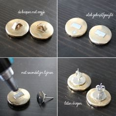 vintage earrings.    1. a couple of old buttons.  2. you cut the little eyes of the buttons        and you file it down until it is nice       and smooth.  3. you glue the backside of the earring      on with superglue.  4. you let it dry and voila!