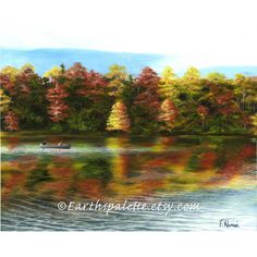 Landscape oil painting lake fall painting 8x10 print home garden home... ($32) ❤ liked on Polyvore featuring home, home decor and wall art