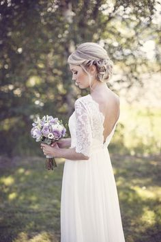 Love her wedding hairstyle. wedding hair, wedding updo, wedding hairstyles We ar. - Wedding Inspiration - Share your very best - Boho Wedding Dress With Sleeves, Elegant Wedding Dress, Wedding Updo, Wedding Party Dresses, Trendy Wedding, Dream Wedding, Dresses With Sleeves, Dress Lace, Wedding Simple