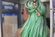 lavender, turquoise and peach  long straight hair
