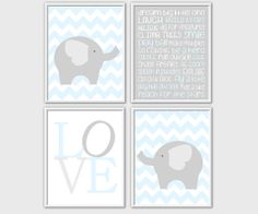 Baby Boy Nursery Wall Art Blue Gray Elephants Chevron Prints LOVE Baby Boy Room Decor Playroom Wall Art 4 PRINT SET