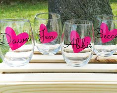 Personalized Bridal Party Wine Glasses by WeddingsByLeann on Etsy