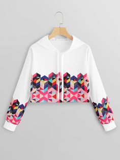 To find out about the Geo Print Drawstring Crop Hoodie at SHEIN, part of our latest Sweatshirts ready to shop online today! Indian Fashion Dresses, Girls Fashion Clothes, Teen Fashion Outfits, Teenage Outfits, Trendy Fashion, Crop Top Outfits, Cute Casual Outfits, Pretty Outfits, Stylish Outfits
