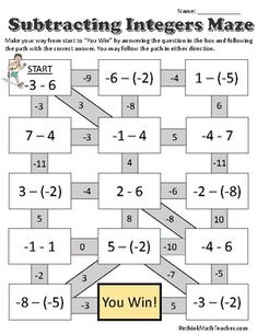Maze worksheets for Adding Integers, Subtracting Integers, Multiplying and Dividing Integers, and One Step Equations. Adding Integers Worksheet, Adding And Subtracting Integers, Maze Worksheet, Free Math Worksheets, Integers Activities, One Step Equations, Teaching Math, Math Teacher, Math Lessons