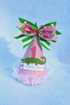 Preppy Pink and Green Alligator Birthday Hat - So cute!