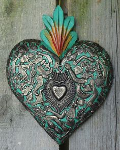 Green Wood Heart covered in Milagros Miracle Ex Voto Folk Art Mexico Love Token