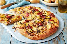 Create your own seasonal & delicious Potato, red onion & rosemary pizza. Find an array of delicious recipes seasonal recipes at Tesco Real Food today. Red Onion Pizza, Tasty, Yummy Food, Delicious Recipes, Make Your Own Pizza, Tesco Real Food, Perfect Pizza, Cauliflower Pizza, Bratwurst