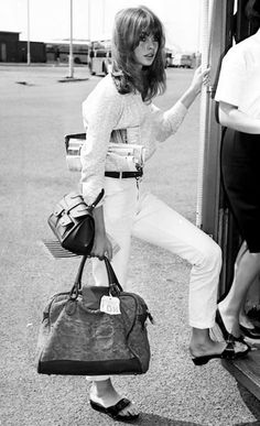 Jean Shrimpton at Heathrow Airport en route to Sicily in 1965.