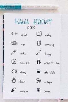 How fun are these super simple habit tracker icons! I'm going to try these out 😃 Bullet Journal For Beginners, Bullet Journal Lettering Ideas, Bullet Journal Notebook, Bullet Journal School, Bullet Journal Layout, Bullet Journal Ideas Pages, Bullet Journal Inspiration, School Organization Notes, Journal Writing Prompts