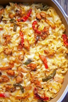 Chicken Fajita Noodle Casserole - chicken, fajita seasoning, bell peppers, onions, noodles, sour cream, cream of chicken soup and cheese. Seriously delicious! Can make ahead of time and refrigerate or freeze for later. Makes a lot - can split between 2 pans and freeze one for later. Everyone loves this casserole!