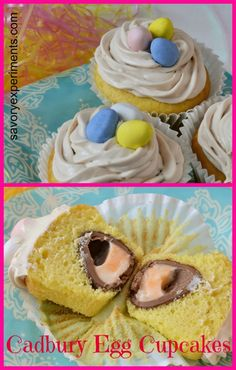 Cadbury Egg Cupcakes- your favorite creme egg in a cupcake! | #cadburyegg | www.savoryexperiments.com