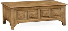 Cocktail Table JONATHAN CHARLES NATURAL OAK Elizabethan Coffer Coffered JC-1986