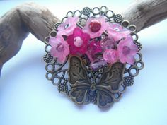 Brooch  Cerise flower and the butterfly £7.50