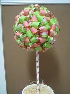 DIY Polka Dot Ribbon Topiary for Polka Dot Party Table Decor
