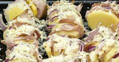 Easy Hasselback Potatoes With Ham, Cheese, and Onion