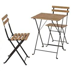 Foldable, durable and lovable with its mix of natural acacia hardwood and powder-coated steel. A perfect size for the balcony or in a cozy corner of the deck. Outdoor Table Tops, Outdoor Chairs, Outdoor Decor, Chair Pads, Chair Cushions, Ensemble Patio, Ikea Family, Outdoor Dining Furniture, Home