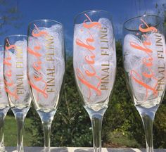 These champagne flutes are perfect for a Bachelorette party! ! Colors can be personalized to match wedding colors and theme. Saying on glasses can also be customized! Just let me know what you would like it to say!  *This listing is for ONE champagne glasses. Glasses are 6 oz and approximately 7.5 inches tall.  HOW TO ORDER In the notes to seller for each glass indicate: 1) Saying on the glasses (ex. Brides final fling) 2) Color choices (2 colors)  Choose up to 2 colors from the color chart…