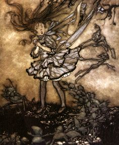 Arthur Rackham - They will certainly mischief you; Peter's Goat - Peter Pan in Kensington Gardens by J. M. Barrie, 1906
