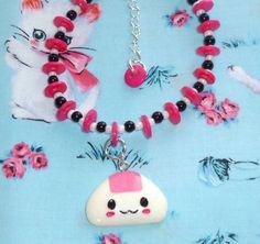 ✿☮✝★ KAWAII ✝☯★☮ Nom nom onigiri bead and button bracelet with by NiNEFRUiTSPiE