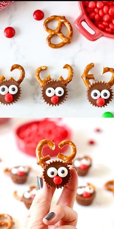 Easy Reese's Reindeer Here's one of the cutest holiday treats for kids or coworkers! This Reese's Reindeer recipe is so easy to make and has that salty sweet combo everyone loves! A Christmas dessert that works well for class parties. Christmas Party Snacks, Easy Christmas Treats, Christmas Sweets, Christmas Goodies, Christmas Candy, Holiday Treats, Christmas Holidays, Christmas Crafts, Reindeer Christmas