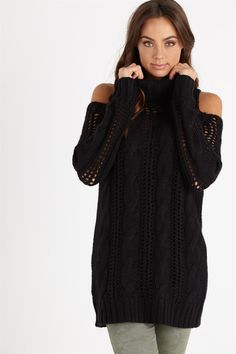 casey cable cold shoulder pullover