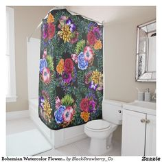 Bohemian Watercolor Flowers and Tropical Leaves Shower Curtain