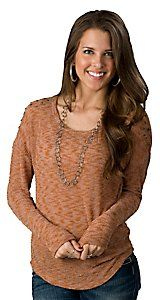 Vintage Havana® Women's Orange with Stud Shoulders Long Sleeve Sweater Knit Fashion Top