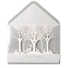 PAPYRUS Christmas Card: Winter Forest Laser-Cut Price $7.95