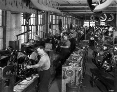 The Harley-Davidson assembly line, unknown year