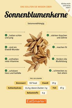 sonnenblumenkerne holidayrecipes eatsmarterde healthyfood infografik sunflower nutrition should seeds about paleo know you Sunflower seeds You Should Know About Sunflower Seeds You can find Nutrition and more on our website Healthy Life, Healthy Snacks, Healthy Eating, Healthy Recipes, Le Diner, Food Facts, Paleo Breakfast, Sunflower Seeds, Sunflower Flower