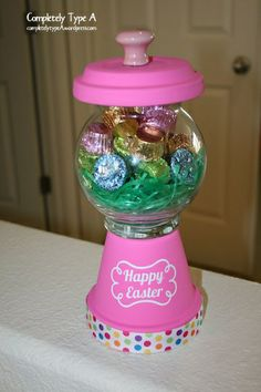 DIY flower pot candy machine, Easter or spring time version