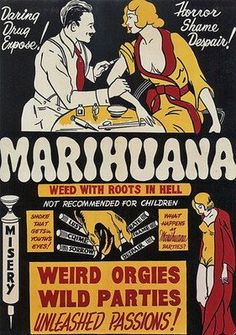 Vintage 1930's Marihuana/ Marijuana Anti Drugs Poster SemillasDeMarihuana.com