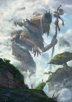 A group of African tribe has to go to the tall forbidden mountains to summon and make an offering to the Ancient Cloud Giant to provide rains for their deserted village. Fantasy Concept Art, Dark Fantasy Art, Fantasy Artwork, Fantasy World, Dark Art, Fantasy Art Landscapes, Fantasy Landscape, Fantasy Monster, Monster Art