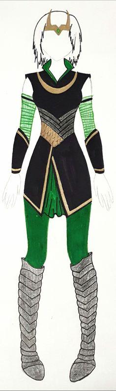 My own design for a female version of Loki - MARVEL Lady Loki Cosplay, Loki Costume, Comic Con Costumes, Halloween Costumes, Halloween Duos, Halloween 2018, Spiderman Cosplay, Marvel Cosplay, Cosplay Outfits