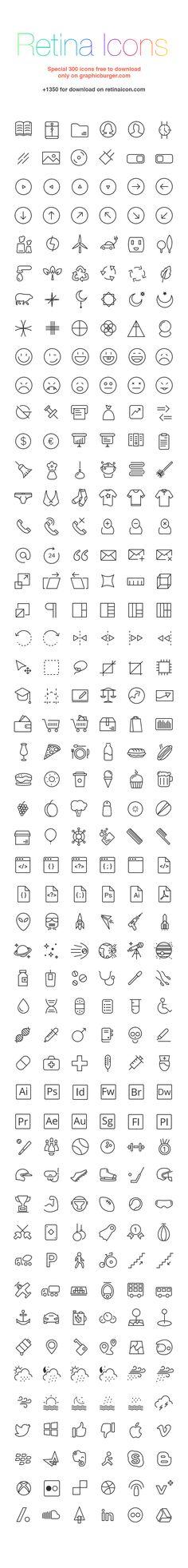 RetinaIcon: 300 Free Icons | GraphicBurger