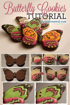 Marbled Royal Icing Butterfly Cookie Tutorial Tutorial on Cake Central Fancy Cookies, Iced Cookies, Cute Cookies, Cupcake Cookies, Sugar Cookies, Cookies Et Biscuits, Owl Cookies, Cookie Tutorials, Cake Decorating Tutorials