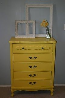 yellow dresser--emerald green for my room
