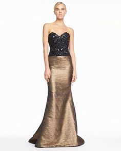 Carolina Herrera Gold Beaded Sweetheart Tweed Gown Blackgold     jaglady