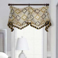 Gray and Gold Goblet Curtain Valance