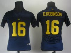 Women NCAA Adidas Michigan Wolverines Denard Robinson 16 Navy Blue College Jerseys